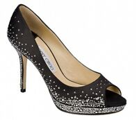 Jimmy Choo DALI Crystal Jewel Platform Open Toe Satin Heels Pumps Shoes Black 40