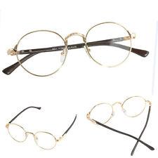 Vintage Oval Gold Eyeglass Frame Unisex Plain Glass Clear Full-Rim Spectacles