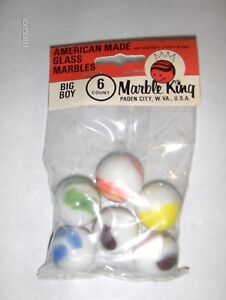 New Old Stock MARBLE King BIG BOY .. 6  MARBLES IN ORIGINAL PACK, 1 inch