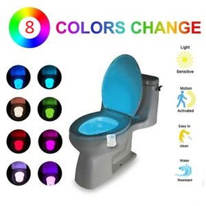 LED Toilet Bathroom Night Light 8 Colour Changing Motion Sensor Activated Home