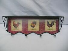 SMALL COUNTRY ROOSTER METAL WALL SHELF WITH HOOKS