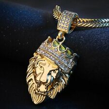 Men Women Gold Filled Hip Lion Head Crystal Pendant Necklace Jewelry