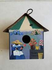 8 Inch High Vintage Handpainted Bird House with copper top