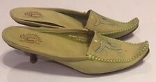 Charlie 1 Horse Green Leather Mules Heels Slip On Shoes Womens 8.5 B Lucchese