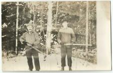 2 Hunters Holding Double Barrel Shotguns ~ AZO RPPC Real Photo Postcard c.1909