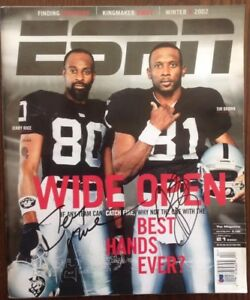 Jerry Rice Tim Brown Beckett Authenticated Signed ESPN The Magazine Raiders HOF