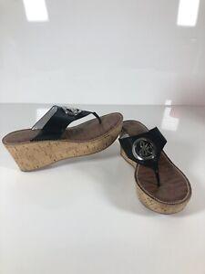 SAM EDELMAN Sz 8.5 Ruth Black Cork Wedge Designer Sandals  Platform Flip Flops