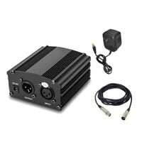 48V Phantom Power Supply with Adapter & XLR Audio Cable for Condenser Microphone
