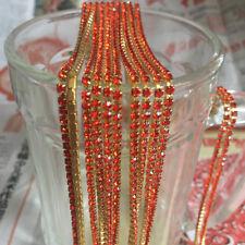 SS8 (2.5mm) Crystal Rhinestone Close Chain Trim Sewing Craft DIY Crystal Chain D