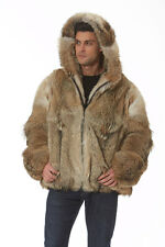 Real Natural Coyote Fur Jacket Mens Hooded Parka