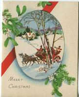 VINTAGE CHRISTMAS CARD YELLOW HOUSE HORSE SLEIGH RIDE WHITE MISTLETOE CARD PRINT