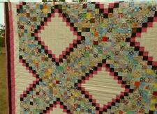 "Exceptional Vintage Hand Sewn Irish Chain Quilt 1"" Postage Stamp Squares Vibrant"