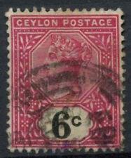 Ceylon 1889-1900 SG # 259, 6C Rosa e Nero QV utilizzato #D 11393