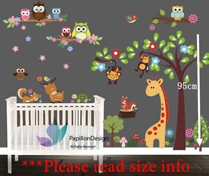 Giraffe,woodland animals,owl fox Nursery Baby Kid Wall Decal Sticker Art Mural