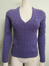 Ralph Lauren Polo Sport Women's M Cable Knit V-Neck Purple Sweater w Green Pony