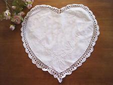 Pretty Flower Embroidery Hand Crochet Lace Heart Shape Cotton White Doily Diy Cl
