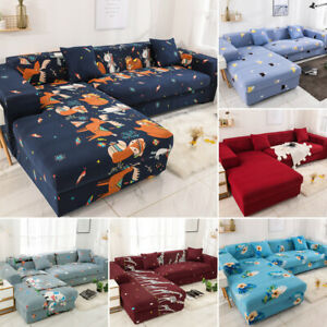 L Shape Sectional Corner 1/2/3/4 Seats Stretch Sofa Protector Couch Slipcover