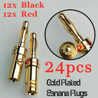 24Pcs 4mm Black Red Connector Gold Plated Banana Audio Speaker Wire Cable Plugs