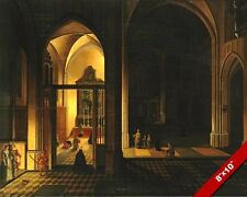 DUTCH GOTHIC CHURCH CATHEDRAL INTERIOR PAINTING ART REAL CANVAS PRINT