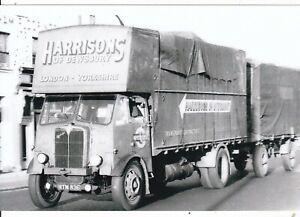 B/W PHOTO: HARRISON'S OF DEWSBURY AEC 4 WHEEL RIGID & DOLLY TRAILER - MTN 836