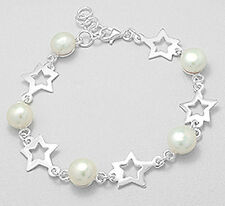 "8"" Solid Sterling Silver Star and Pearl Bracelet 10g + 12mm wide SO PRETTY"