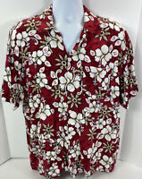 Vtg Koko Knot Mens Size XXL Red Floral Aloha Hawaiian Camp Button Rayon Shirt