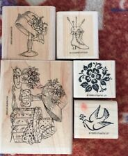 LOT OF 5 Stampin Up! Wood Mount Rubber Stamp Preowned.