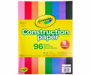 """Crayola Colourful Construction Paper - Pack of 96 Sheets in 8 Colours - 9""""x12"""""""