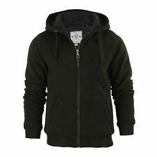 Mens Hoodie Brave Soul Zone Sherpa Fleece Lined Zip up Hooded Sweater DK Khaki Medium