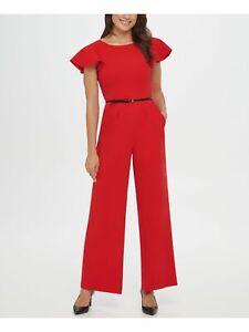 CALVIN KLEIN Womens Red Belted Jewel Neck Wide Leg Evening Jumpsuit Size: 8