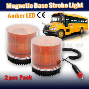 2x Emergency Car Beacon Strobe Amber LED Light Flashing Warning Lamp Rotating