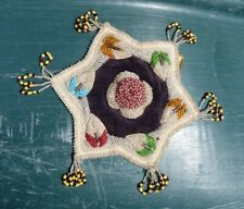 BIG 19th Century Iroquois Mohawk Indian Hand Made Glass Beads Mat Whimsey pillow