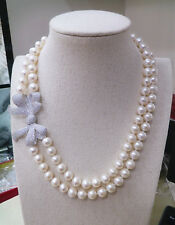 double strands 8-9mm Akoya white natural pearl necklace 14K gold clasp bowknot
