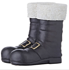 """10.25"""" BLACK SANTA BOOTS CONTAINER VASE 4011563 Christmas Table Top Decoration"""