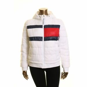 TOMMY HILFIGER SPORT Women's White Quilted Logo Hooded Puffer Jacket Top XL TEDO