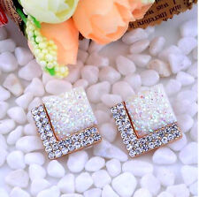 SPARKLING DRUZY CABOCHON CRYSTAL WHITE TRIANGLE EARRINGS 18MM