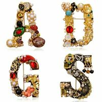 Luxury Pearl Crystal Letter Brooch Pin Colorful Women Wedding Bride Jewelry Gift