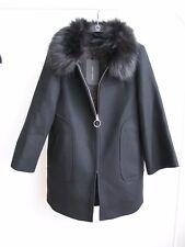NWT ZARA Flared Sleeve Wool COAT with Detachable Fur Collar Size M Ref.2035/744