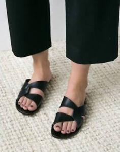 ATP ATELIER 'Allai' Black Leather Slides Sandals RRP $300 Size 37