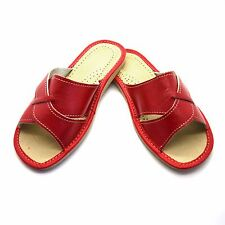 Womens Ladies Eco Leather Slippers Slip On Shoes 3 4 5 6 7 8 Mules Sandals Red