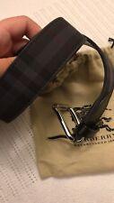 New Authentic Burberry Men Belt Nova Check Plaid Black Canvas Leather 30 75 $455