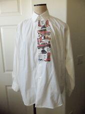 Vintage Mens White Cotton Western Cowboy Print Button Front Sport Shirt - M