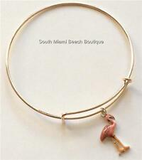 Pink Flamingo Rose Gold Charm Bracelet Peach Enamel Island Bird USA Seller