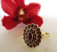 Granat Ring 900 Silber garnet silver Fingerring Granatring vergoldet / ad 914