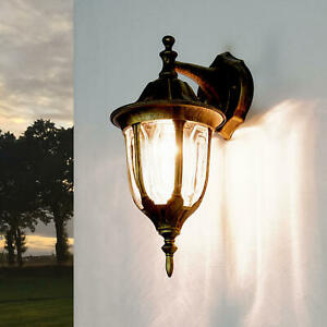 Rustikale Außenwandleuchte Milano schwarz gold Laterne Wandleuchte Aussenlampe