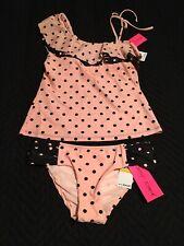 bc38e7ce3e2d2 BETSEY JOHNSON Pink Black Polka Dot Tankini Swimsuit Set NWT sz S