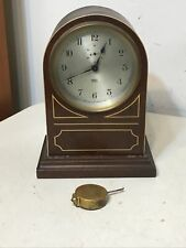 Antique Poole Morse Battery Clock In Rare Arch Top Wood Case