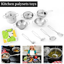 1 set Childrens Kids Play kitchen Toys Set Food Stainless Steel Cooking Utensils