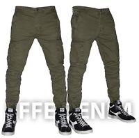 Pantaloni Uomo Cargo Tasconi Laterali Slim Elasticizzati Multitasche Jeans 8001