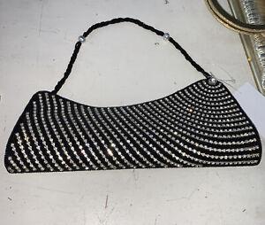 CLUTCH BAG BEADED BLACK GOLD & SHOULDER STRAP GLITTER SEQUIN BNWT